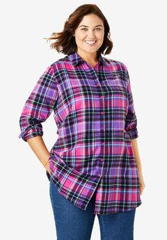 Flannel Tunic, RASPBERRY SORBET PLAID