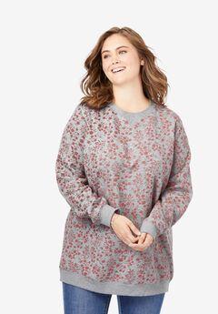 Fleece Sweatshirt, HEATHER GREY VINE BLOOM