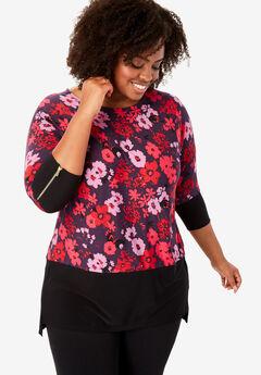 Color Block Zip-Sleeve Tunic, DARK PURPLE FLAT FLORAL