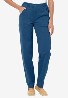 Peached stretch pants, DUSTY NAVY, hi-res