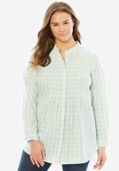 Perfect Pintuck Shirt, FRESH AQUA GINGHAM