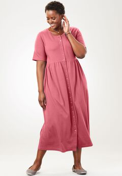 Empire Waist Button-Front Dress by Only Necessities®, ROSE BLOOM