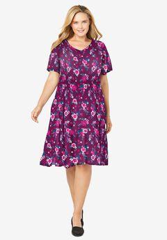 Short Crinkle Dress, DEEP CLARET PAINTED FLORAL