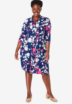 Three-Quarter Sleeve Stretch Shirtdress,
