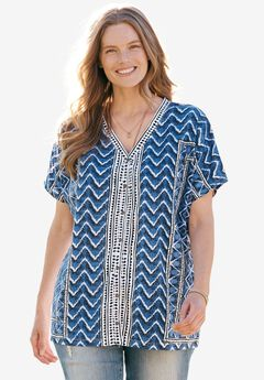 Geometric Button-Front V-Neck Tee, NAVY MIX PRINT, hi-res