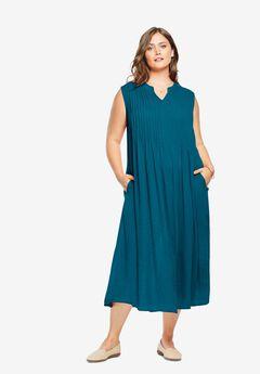 Sleeveless Pintuck Crinkle Dress, DEEP TEAL
