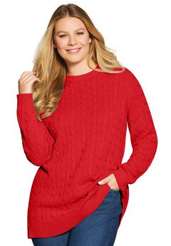 Cable Knit Pullover Crewneck Sweater, ELECTRIC RED