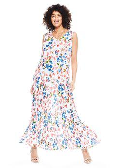 Woman Within®Sleeveless Crinkle Dress, WHITE PRETTY SPRING PRINT, hi-res