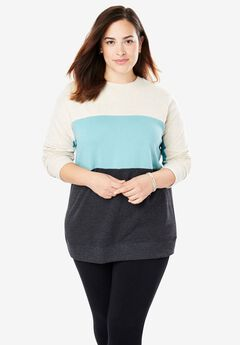 Color Blocked Fleece Sweatshirt, HEATHER OATMEAL DUSTY TEAL HEATHER CHARCOAL