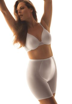 High-waist mesh long leg shaper by Secret Solutions® Curvewear, WHITE, hi-res