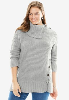Side Button Sweater, HEATHER GREY, hi-res