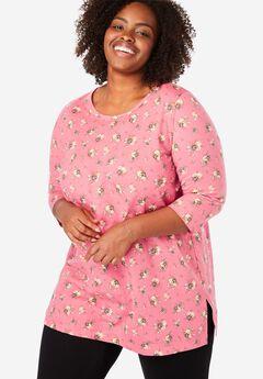 Printed Three-Quarter Sleeve Perfect Tunic, TEA ROSE MINI BOUQUET