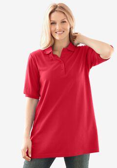 Elbow-Sleeve Polo Shirt, VIVID RED