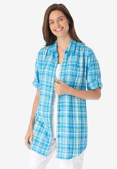 Linen Blend Button-Front Shirt, PARADISE BLUE PLAID