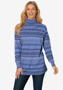 Perfect Printed Long-Sleeve Turtleneck Tee, ROYAL NAVY PATCHWORK STRIPE