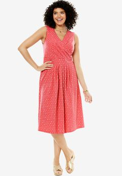 Short floral print surplice dress, BEGONIA IKAT DIAMOND, hi-res