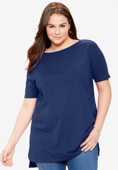 Perfect Boat Neck Elbow-Lengh Sleeve Tunic, NAVY