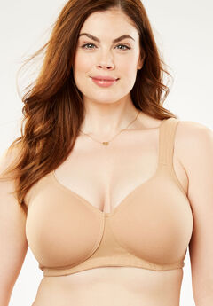 Wireless Cotton T-Shirt Bra by Comfort Choice®, NUDE, hi-res