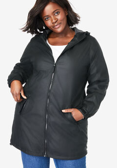 Hooded Slicker Raincoat, BLACK, hi-res