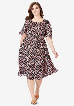 Flutter Sleeve Printed Midi Dress, TEA ROSE FIELD FLORAL