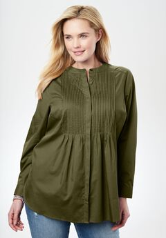 Perfect Pintuck Shirt, DARK BASIL