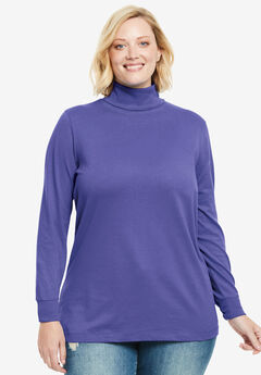 Perfect Cotton Turtleneck, MISTY PURPLE