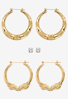 "4 TCW CZ Gold Tone Stud and Hoop Earring Set 2"","