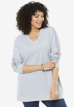 Embroidered V-Neck Sweatshirt,
