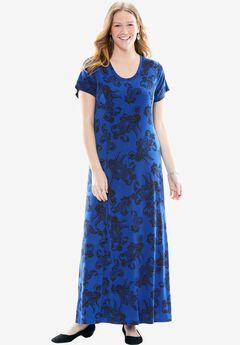 Knit maxi tee dress, TWILIGHT BLUE PAISLEY, hi-res