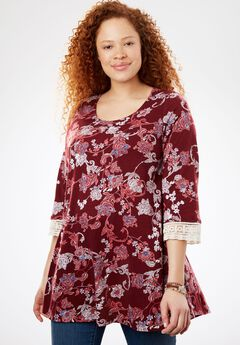 Crochet sleeve tunic, RICH BURGUNDY FLORAL