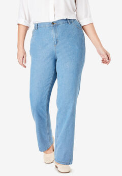 Cotton Straight Leg Jean, LIGHT STONEWASH