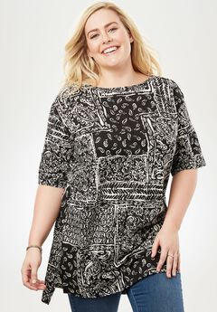Printed Boatneck Perfect Tunic, BLACK PATCHWORK