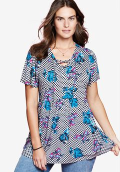 Lace-up Babydoll Tunic by Chelsea Studio®, BLACK FLORAL CHECK, hi-res