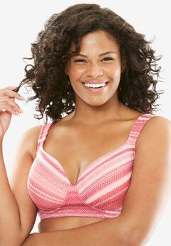 Cotton Wireless Light Support T-shirt Bra by Comfort Choice®, SWEET ROSE MULTI STRIPE, hi-res