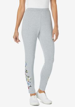 Stretch Cotton Embroidered Legging, HEATHER GREY FLOWER EMBROIDERY