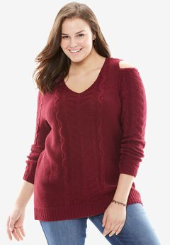 The Cold-Shoulder Sweater, CORDIAL, hi-res