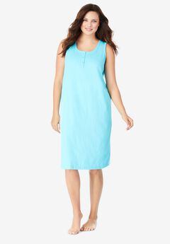 Sleeveless Henley Sleepshirt by Dreams & Co®,
