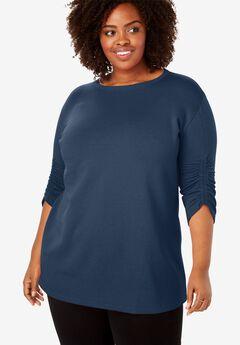 Shirred Sleeve Fleece Tunic,