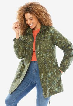 Weather-Resistant Taslon® Anorak, HUNTER GREEN DRIED FLORAL