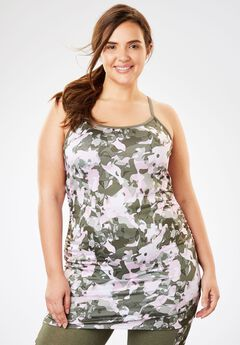 Long yoga halter tank by fullbeauty SPORT®, PINK SAGE CAMO, hi-res