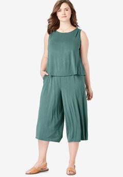 Popover Wide Leg Sleeveless Jumpsuit,