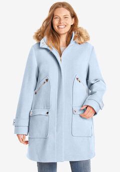 Wool-Blend Duffle Coat, PALE ICE