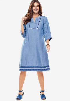 Embroidered Denim Dress, BLUE TRIBAL EMBROIDERY, hi-res