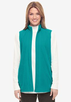 Zip-Front Microfleece Vest, WATERFALL