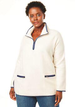 Quarter-Zip Microfleece Mock Neck Sweatshirt,