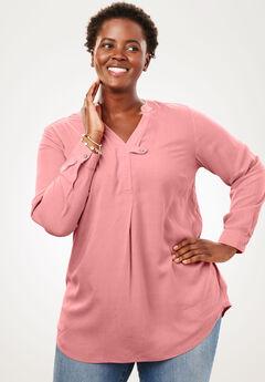 Tab-Front Long Sleeve Shirt, DESERT ROSE