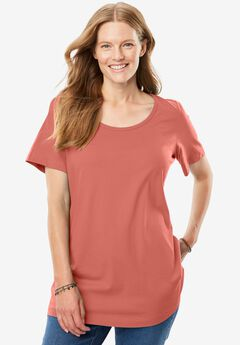 Perfect scoop neck tee, DUSTY CORAL, hi-res