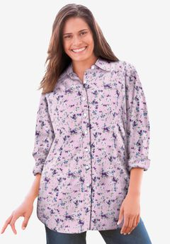 Perfect Long-Sleeve Button Down Shirt, PINK PRETTY BLOOM