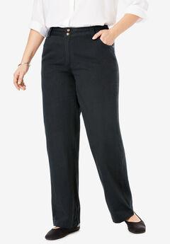 Wide Leg Pure Cotton Jean, BLACK, hi-res