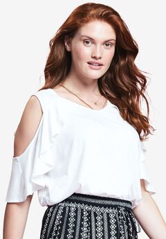 Cold Shoulder Ruffle Tee by Chelsea Studio®,